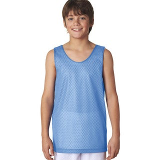 Boys' Blue and White Cotton Reversible Mesh Tank