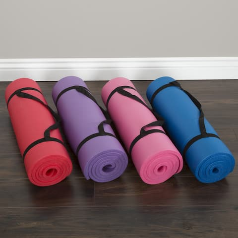 """Wakeman Fitness Extra Thick Yoga Exercise Mat - 71""""L x 24""""W x .5""""H"""