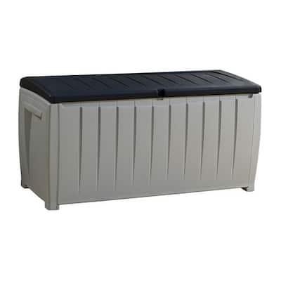 Keter Novel 90 Gallon Black and Grey Plastic Deck Storage Box