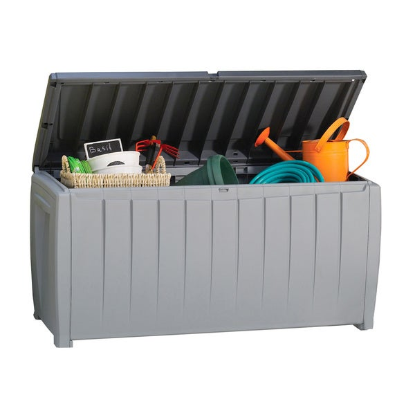 Keter Novel 90 Gal Black And Grey Plastic Deck Storage