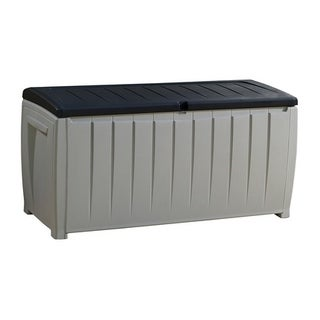Keter Novel 90 Gallon Black and Grey Plastic Deck Storage Box