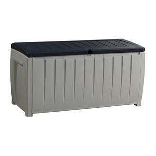 Keter Novel 90 gal. Black and Grey Plastic Deck Storage Box|https://ak1.ostkcdn.com/images/products/12306031/P19140500.jpg?impolicy=medium