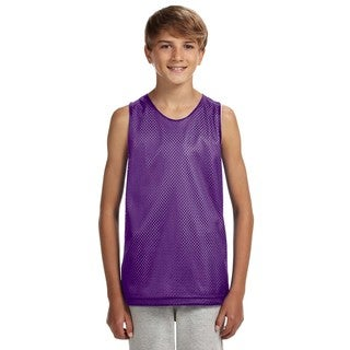 Boys' Purple and White Cotton Mesh Reversible Tank