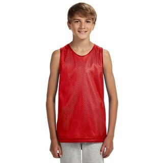 Reversible Red and White Boys' Mesh Tank Top