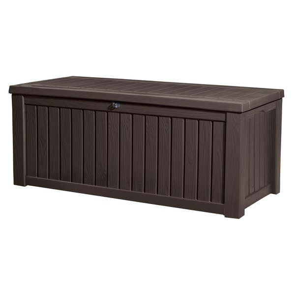 Shop Keter Rockwood Plastic Deck Storage 150 Gallon Brown