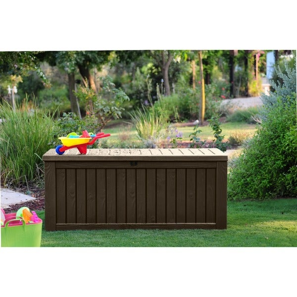 Keter Rockwood Plastic Deck Storage 150 Gal. Brown Patio Container Bench Box    Free Shipping Today   Overstock.com   19140502