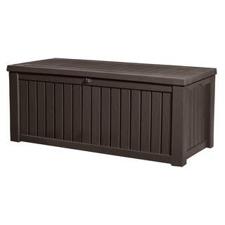 keter rockwood plastic deck storage 150 gal brown patio bench box - Garden Furniture 4 Less