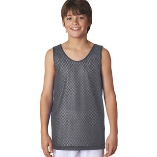 Boys' Reversible Graphite/White Mesh Tank