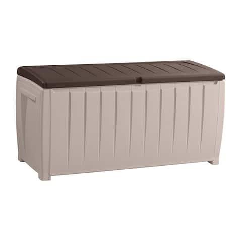 Keter Novel 90-gallon Brown Plastic Deck Storage Box