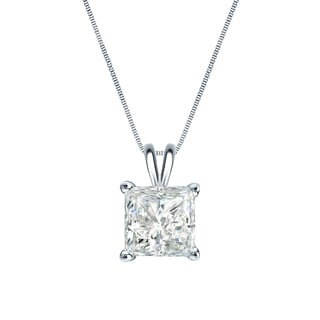 Auriya 14k Gold 3/4ct TDW Princess-Cut Diamond Solitaire Necklace (I-J, SI2-SI3)