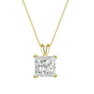 Auriya 14k Gold 3/4ct TDW Princess-Cut Diamond Solitaire Necklace