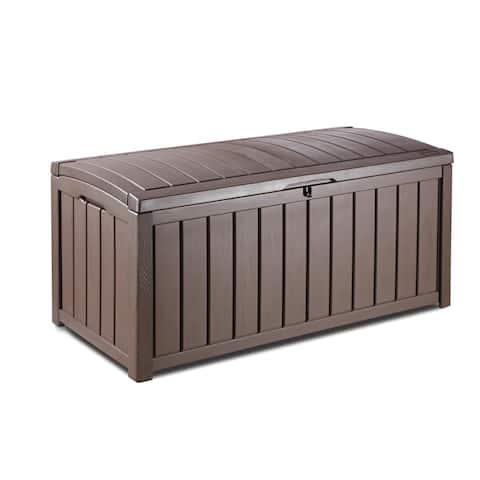 Keter Glenwood 101 gal. Brown Plastic Outdoor Patio Deck Storage Box