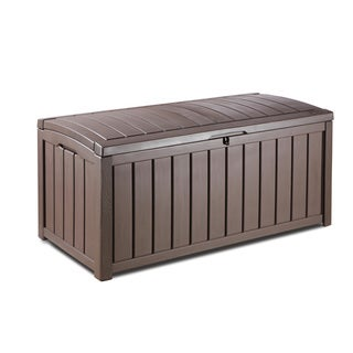 Keter Glenwood 101 gal. Brown Plastic Outdoor Patio Deck Storage Box