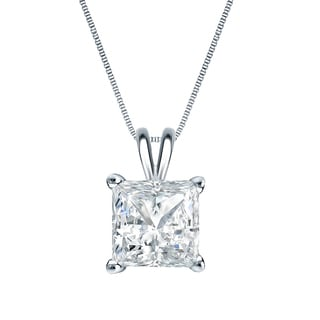 Auriya 14k Gold 1ct TDW Princess-Cut Diamond Solitaire Necklace (H-I, S1-SI2)