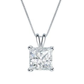 Auriya 14k Gold 1ct TDW Princess-Cut Diamond Solitaire Necklace