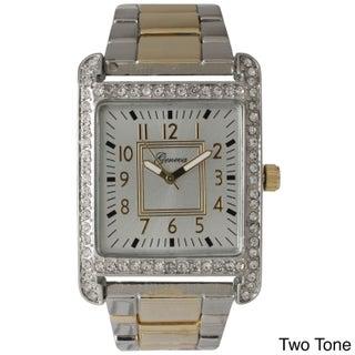 Olivia Pratt Black Stainless Steel/Rhinestone Rectangular Face Bracelet Watch (Option: Two-Tone)