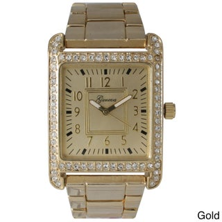 Olivia Pratt Black Stainless Steel/Rhinestone Rectangular Face Bracelet Watch (Option: Gold)