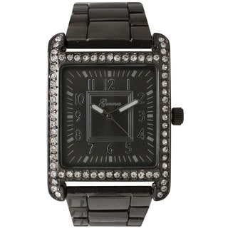 Olivia Pratt Black Stainless Steel/Rhinestone Rectangular Face Bracelet Watch