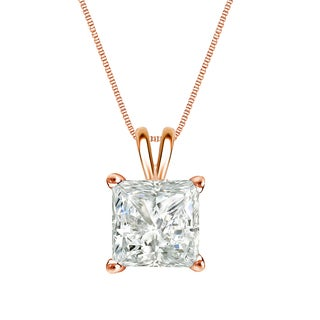 Auriya 14k Gold 1ct TDW Princess-Cut Diamond Solitaire Necklace