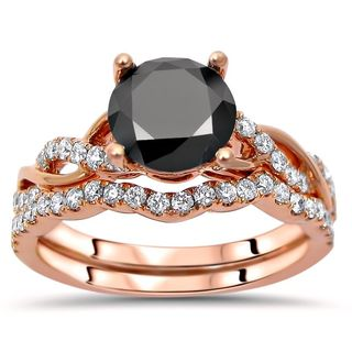 Noori 14k Rose Gold 1 1/2ct TDW Black Round Diamond Engagement Ring Set