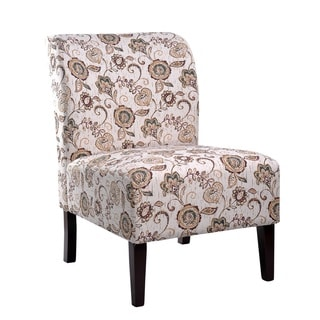 Nathaniel Home Khloe Brown Flora Accent Slipper Chair
