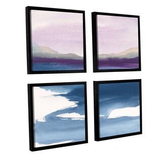 Chris Paschke' s Plum Glow I ' 4 Piece Floater Framed Canvas Sqare Set