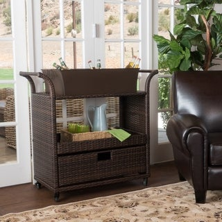 Manka Multi-brown Wicker Indoor Bar Cart by Christopher Knight Home