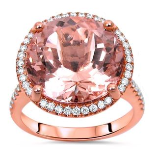 Noori 14k Rose Gold 7 4/5 TGW Morganite Diamond Engagement Ring