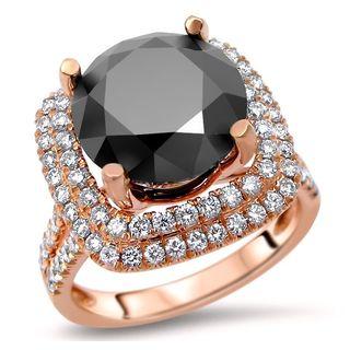 Noori 14k Rose Gold 7 9/10ct TDW Round-cut Black Diamond Double Halo Engagement Ring