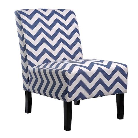 Nathaniel Home Katherine Blue Chevron Accent Slipper Chair