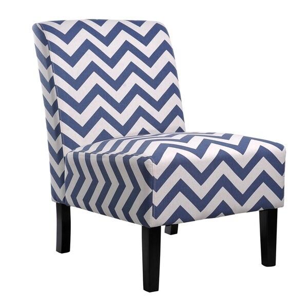 Beautiful Nathaniel Home Katherine Blue Chevron Accent Slipper Chair