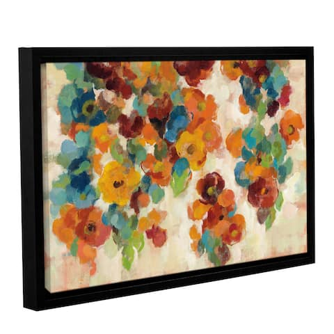 Silvia Vassileva's 'Spice and Turquoise Florals' Gallery Wrapped Floater-framed Canvas