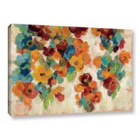 Silvia Vassileva's 'Spice and Turquoise Florals' Gallery Wrapped Canvas - Blue