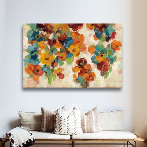 Silvia Vassileva S Spice And Turquoise Florals Gallery Wrapped Canvas On Sale Overstock 12306375
