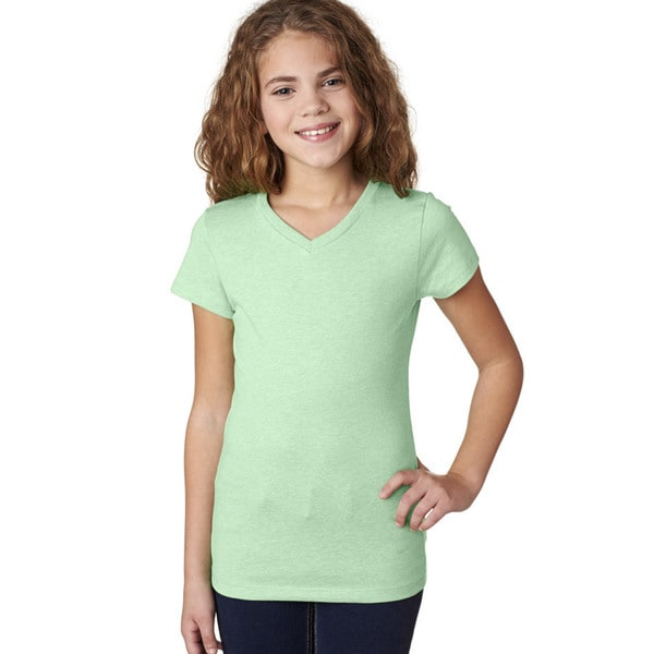12b0f576 Shop Next Level Girls' The Adorable Mint CVC V-neck T-shirt - Free Shipping  On Orders Over $45 - Overstock - 12306405
