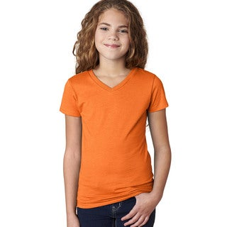 Next Level Girls The Adorable CVC Orange V-neck T-shirt