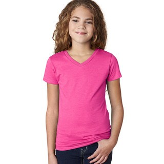Next Level Girls' The Adorable CVC Raspberry Cotton/Polyester V-neck T-shirt