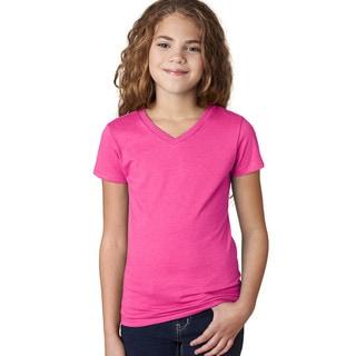 Next Level Girls' The Adorable CVC Raspberry Cotton/Polyester V-neck T-shirt