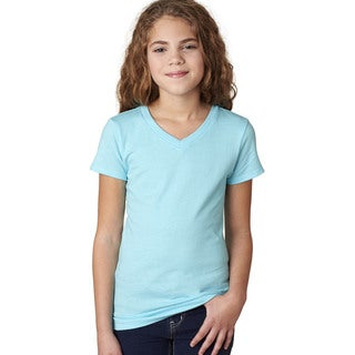 Next Level Girls' The Adorable Blue Cotton V-neck T-shirt