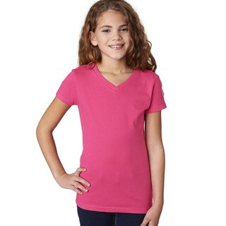 Next Level Girls' Hot Pink The Adorable V-neck T-Shirt