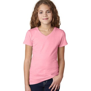 Next Level Girls' Light Pink Cotton V-neck T-Shirt