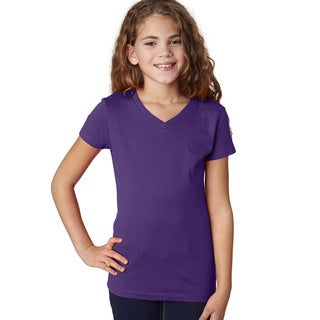 Next Level Girls' 'The Adorable' Purple Rush V-neck T-shirt
