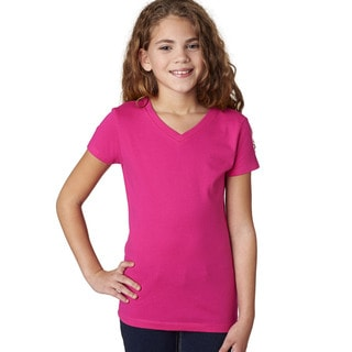 Next Level Girls' The Adorable Raspberry Cotton V-neck T-Shirt