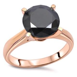 Noori 14k Rose Gold 3 1/2ct TDW Round Black Diamond Solitaire Engagement Ring - White