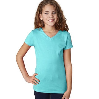 Next Level Girls' Tahiti Blue Cotton V-neck T-Shirt