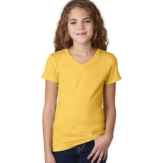 Next Level Girls' 'The Adorable' Yellow Cotton V-neck T-Shirt