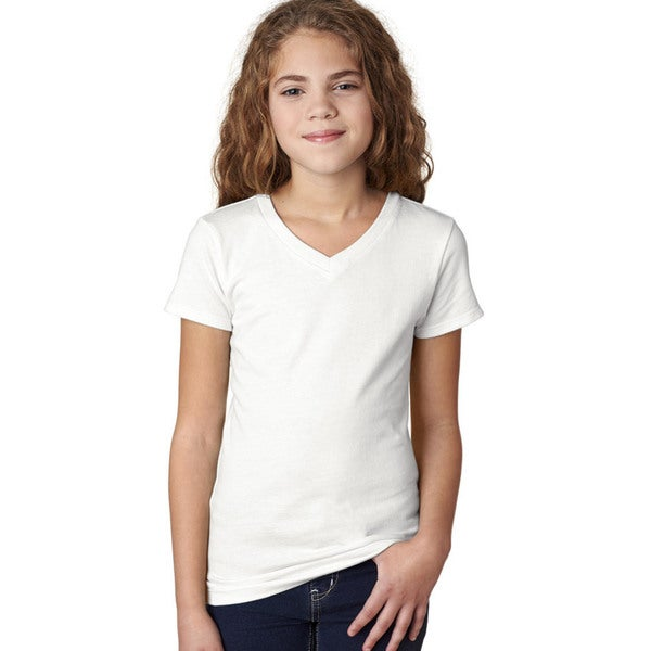 69edfdb63913 Shop Next Level Girls' White The Adorable V-neck T-shirt - Free Shipping On  Orders Over $45 - Overstock - 12306451
