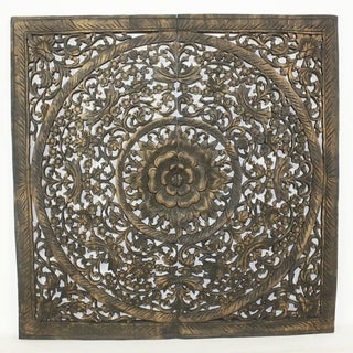 Handmade Teak Lotus Panel Inlay 35 in x 35 in Black Stain Natural Wax (Thailand)