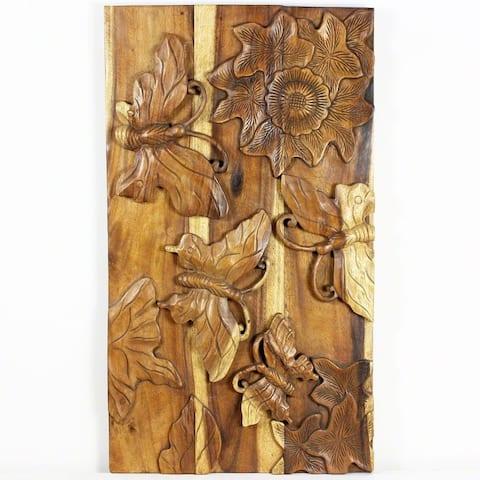 "Handmade Oak Oil Wood Butterfly Panel - 23"" x 40"" (Thailand)"