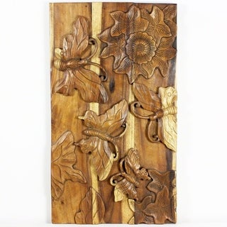 Wall Panel Butterfly 3D Handmade 23 x 40 Antique Oak Oil (Thailand)